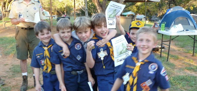 Boys after receiving certificates for hike at Camp Constantin