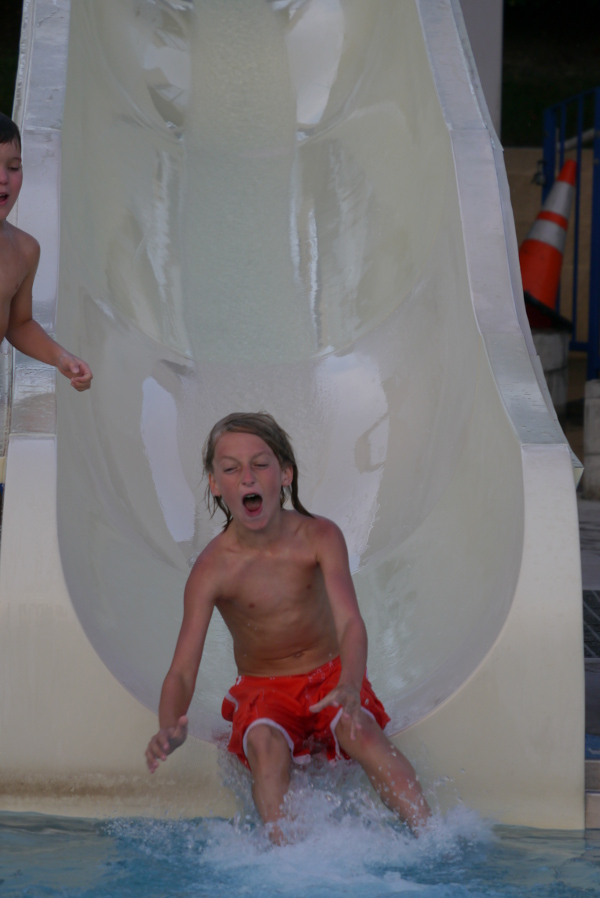 Down the water slide!